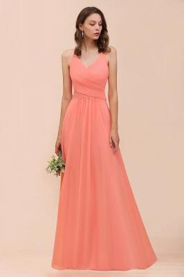 Schlichtes Partykleid | Orange Brautjungfernkleider Lang Günstig_4