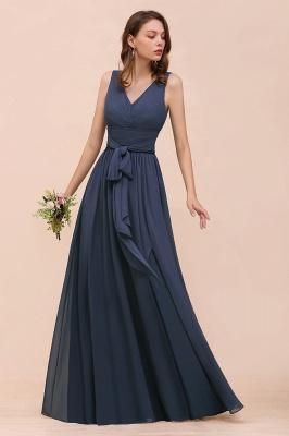 Elegante Brautjungfernkleider Lang Günstig | Blaue Chiffon Kleider_5