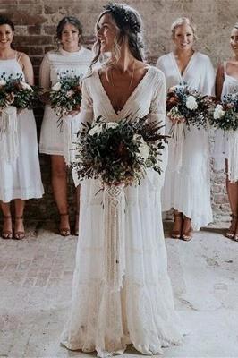 Elegante Hochzeitskleider mit Ärmel | Brautkleid Spitze Online_1
