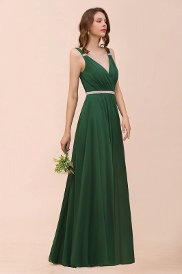 Grüne Brautjungfernkleider Günstig | Chiffon Kleider Abendmoden Lang_4
