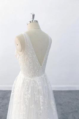 Brautkleid V Ausschnit   Schlichte Hochzeitskleider mit Spitze_8