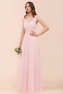 Elegante Brautjungfernkleider Lang Rosa | Hochzeitspartykleider Online_5