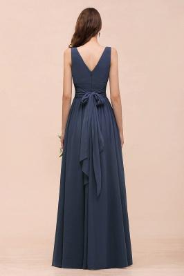 Elegante Brautjungfernkleider Lang Günstig | Blaue Chiffon Kleider_3