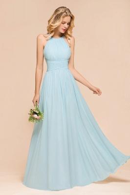 Brautjungfernkleider Lang Günstig Blau   Chiffon Kleider Kaufen_7