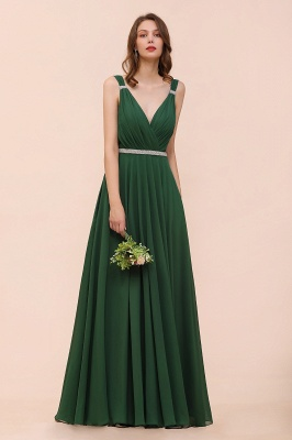 Grüne Brautjungfernkleider Günstig | Chiffon Kleider Abendmoden Lang_6