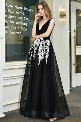 Designer Abendkleider Lang V Ausschnitt | Abendkleid Schwarz_7