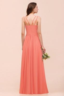 Orange Brautjungfernkleider Lang Günstig   Chiffon Kleider Abendmoden_3