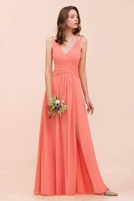 Orange Brautjungfernkleider Lang Günstig   Chiffon Kleider Abendmoden_5