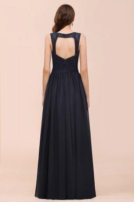 Schwarze Brautjungfernkleider Günstig   Abendkleid Lang V Ausschnitt_3