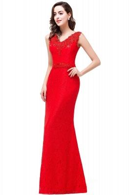 Rotes Abendkleid Lang V Ausschnitt | Schlichtes Abibalkleid_1