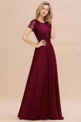 Elegante Abendkleider Lang Weinrot | Abiballkleider Ballkleider mit Ärmel_6