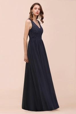 Schwarze Brautjungfernkleider Günstig   Abendkleid Lang V Ausschnitt_7
