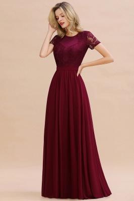 Elegante Abendkleider Lang Weinrot | Abiballkleider Ballkleider mit Ärmel_9