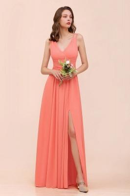 Orange Brautjungfernkleider Lang Günstig   Chiffon Kleider Abendmoden_4