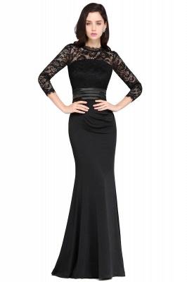 Schlichtes Abendkleid Lang Schwarz   Abiballkleider mit Ärmel_5