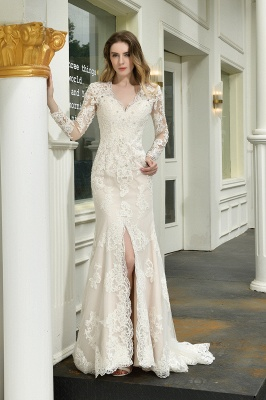 Elegante Brautkleid Meerjungfrau | Hochzeitskleider Mit Ärmel_1