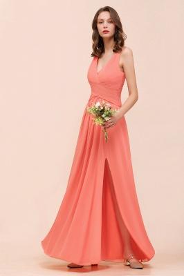 Orange Brautjungfernkleider Lang Günstig   Chiffon Kleider Abendmoden_6