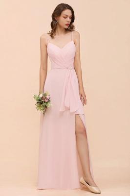 Schickt Brautjungfernkleider Rosa | Chiffon Kleider Lang Günstig_6