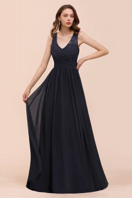 Schwarze Brautjungfernkleider Günstig   Abendkleid Lang V Ausschnitt_8