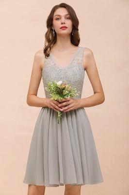 Silber Brautjungfernkleider Kurz | Chiffon Kleider Für Brautjungfern_7