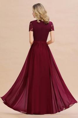 Elegante Abendkleider Lang Weinrot | Abiballkleider Ballkleider mit Ärmel_10