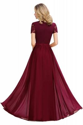 Elegante Abendkleider Lang Weinrot | Abiballkleider Ballkleider mit Ärmel_12
