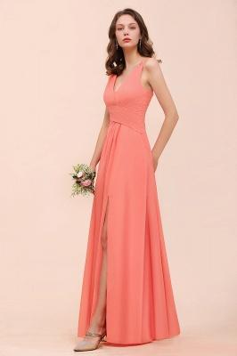 Orange Brautjungfernkleider Lang Günstig   Chiffon Kleider Abendmoden_8