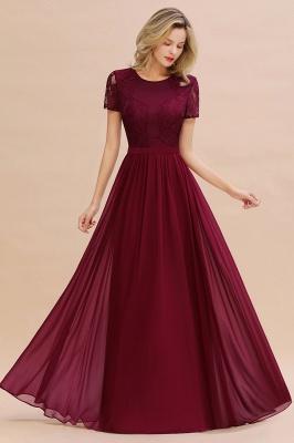 Elegante Abendkleider Lang Weinrot | Abiballkleider Ballkleider mit Ärmel_5