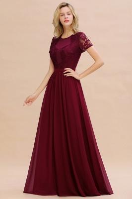Elegante Abendkleider Lang Weinrot | Abiballkleider Ballkleider mit Ärmel_8