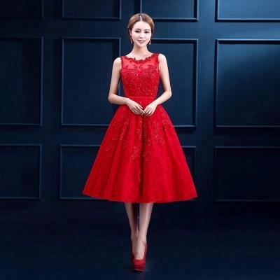 Rotes Cocktailkleider Kurz | Abendkleider mit Spitze_1