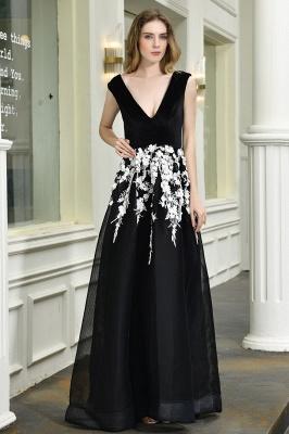 Designer Abendkleider Lang V Ausschnitt | Abendkleid Schwarz_2