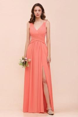 Orange Brautjungfernkleider Lang Günstig   Chiffon Kleider Abendmoden_1