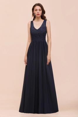 Schwarze Brautjungfernkleider Günstig   Abendkleid Lang V Ausschnitt_1