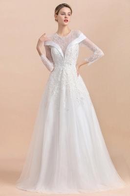Luxus Brautkleider mit Ärmel   Hochzeitskleid A Linie_5