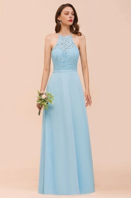 Brautjungfernkleider Lang Blau | Chiffon Kleider Abendmoden Günstig_6