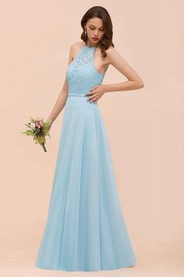 Brautjungfernkleider Lang Blau | Chiffon Kleider Abendmoden Günstig_7