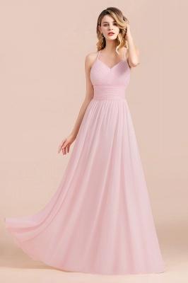 Brautjungfernkleider Lang Rosa | Schlichtes Abendkleid_6