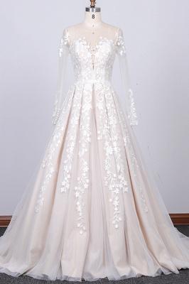 Designer Brautkleider A Linie   Hochzeitskleider Lange Spitze Ärmel_1