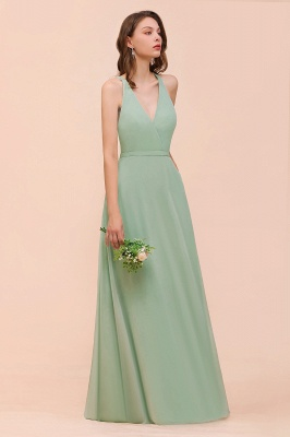Brautjungfernkleider Mint Günstig | Schlichtes Abendkleid Lang_6