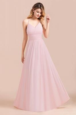 Brautjungfernkleider Lang Rosa | Schlichtes Abendkleid_5