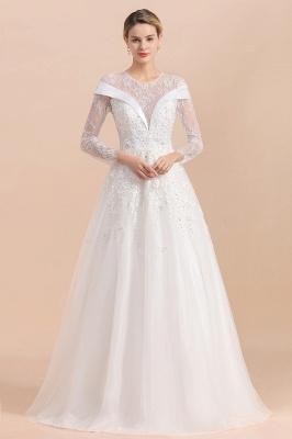 Luxus Brautkleider mit Ärmel   Hochzeitskleid A Linie_1
