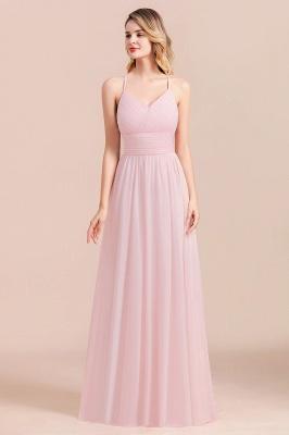 Brautjungfernkleider Lang Rosa | Schlichtes Abendkleid_1