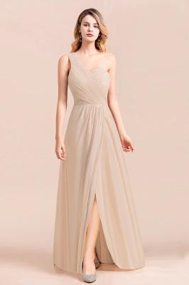 Elegante Chiffon Kleider | Champagne Brautjunfgernkleider Lang Günstig_4