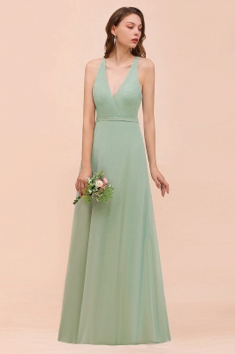 Brautjungfernkleider Mint Günstig | Schlichtes Abendkleid Lang_5