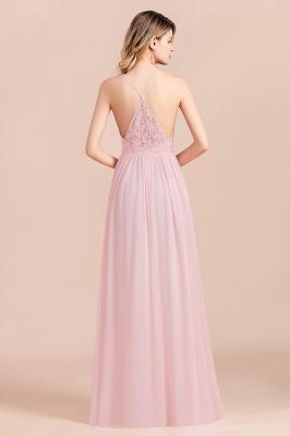 Brautjungfernkleider Lang Rosa | Schlichtes Abendkleid_3