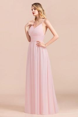 Brautjungfernkleider Lang Rosa | Schlichtes Abendkleid_4