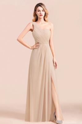 Elegante Chiffon Kleider | Champagne Brautjunfgernkleider Lang Günstig_1