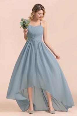 Dusty Blau Brautjungfernkleider Lang Chiffon | Hochzeitspartykleider günstig_7