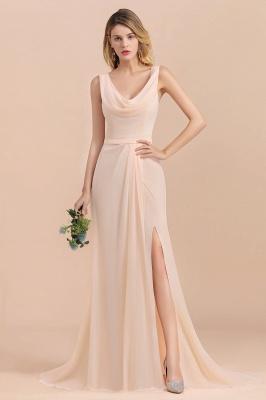 Champagne Brautjungfernkleider Günstig | Brautjungfernkleid Lang Chiffon_4