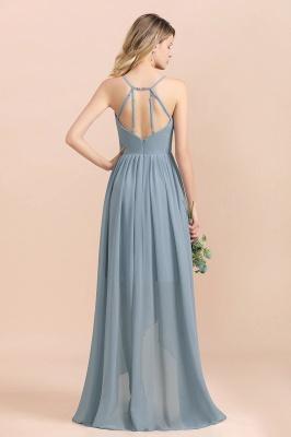 Dusty Blau Brautjungfernkleider Lang Chiffon | Hochzeitspartykleider günstig_3